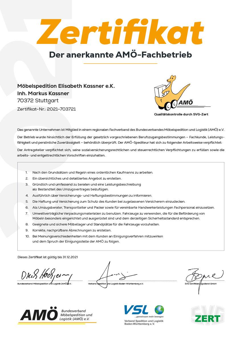 Zertifikat 2019 - Anerkannter Fachbetrieb Spedition E. Kassner