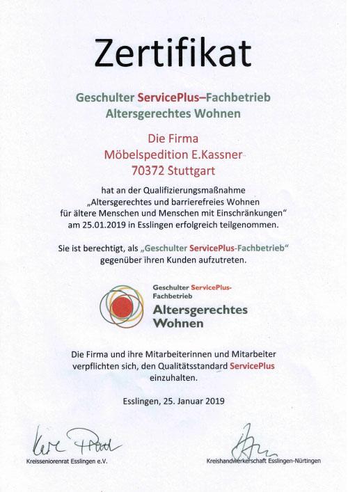 Zertifikat ServicePlus Fachbetrieb - Möbelspedition Kassner