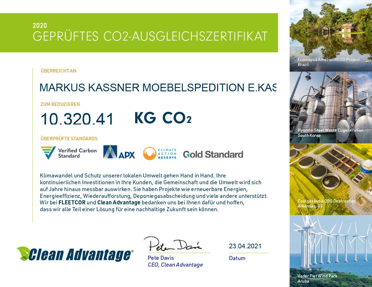 CO2 Ausgleichszertifikat 2020 - Möbelspedition Kassner